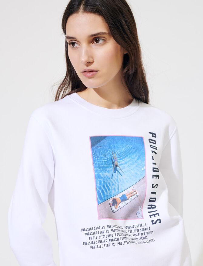 Felpa bianca serigrafata - Pullover e cardigan - MAJE