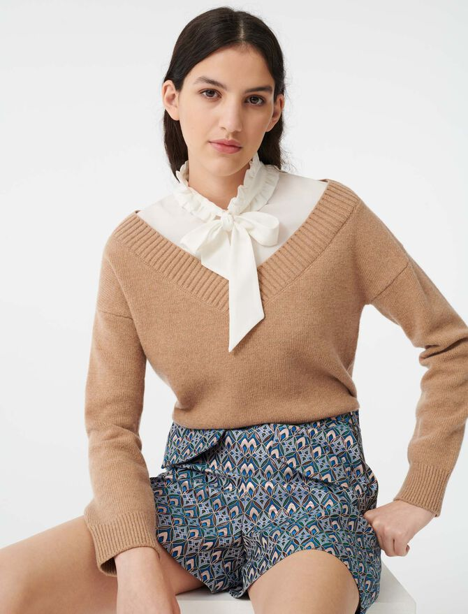 Maglione trompe-l'œil in materiali misti - Pullover e cardigan - MAJE