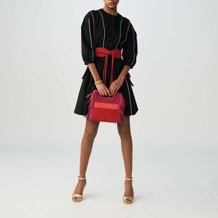 Vestito in tela di cotone con piping : Vestiti colore Nero