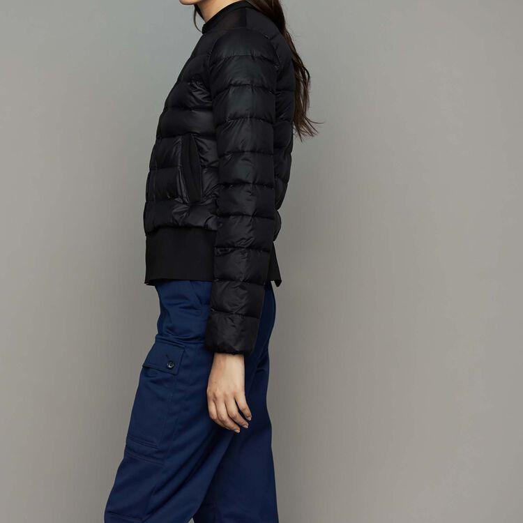 Piumino corto con basque : Cappotti colore Nero