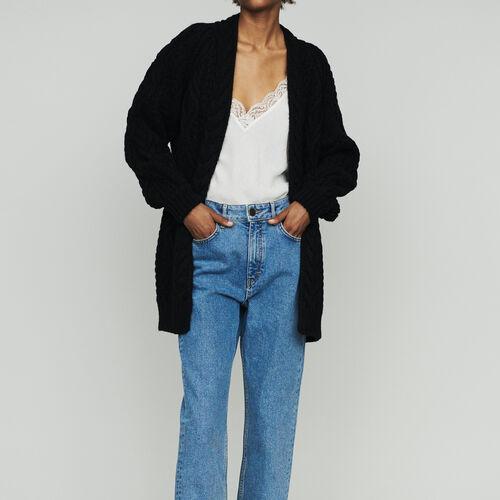 Cardigan oversize in maglia a trecce : Maglieria colore Nero