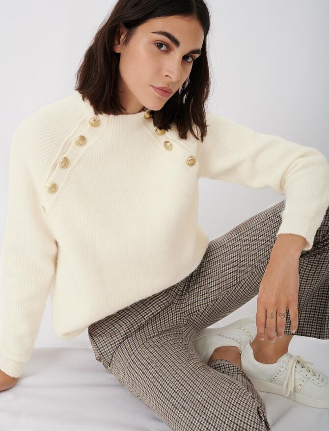 Maglione a coste collo alto con bottoni - Pullover e cardigan - MAJE