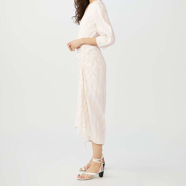 Vestito lungo a righe in lino : Vestiti colore Ecru