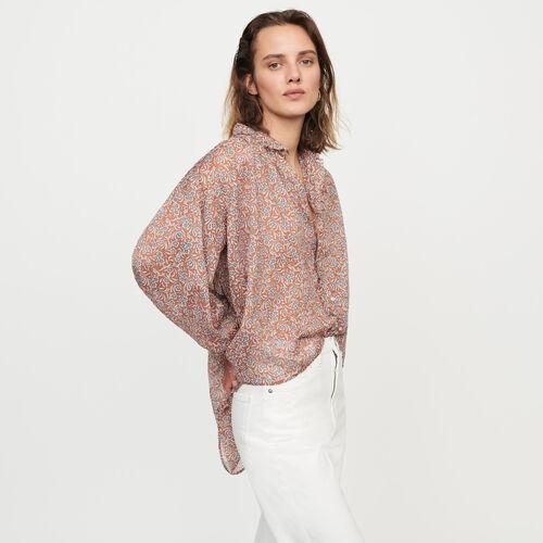 Camicia stampata in voile di cotone : Tops e Camicie colore Terracotta