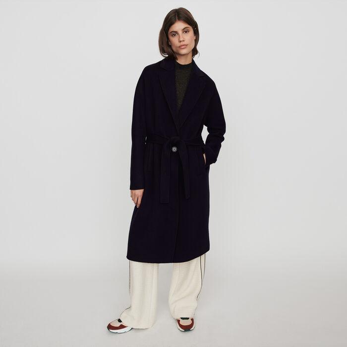 Cappotto double face con cintura : Cappotti e Giubbotti colore Blu Marino