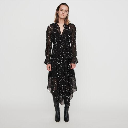 Vestito-foulard in mousseline stampato : Collezione Inverno colore Nero