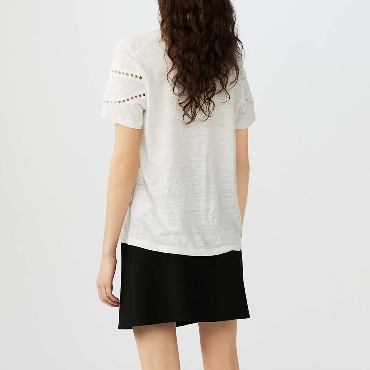 Tee-shirt in lino con ricami : T-Shirts colore Ecru