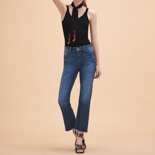 Jeans dritti in cotone stretch : Pantaloni & jeans colore Blu