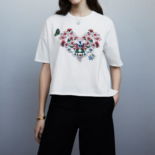 Tee-shirt in cotone con ricami : T-Shirts colore Bianco