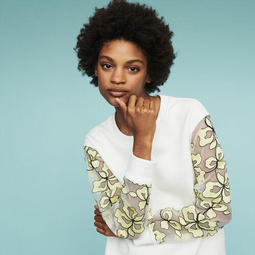 Felpa con dettagli in organza : Pullover e cardigan colore Bianco