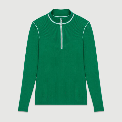 Pull con collo camionista in maglia : Maglieria colore Verde