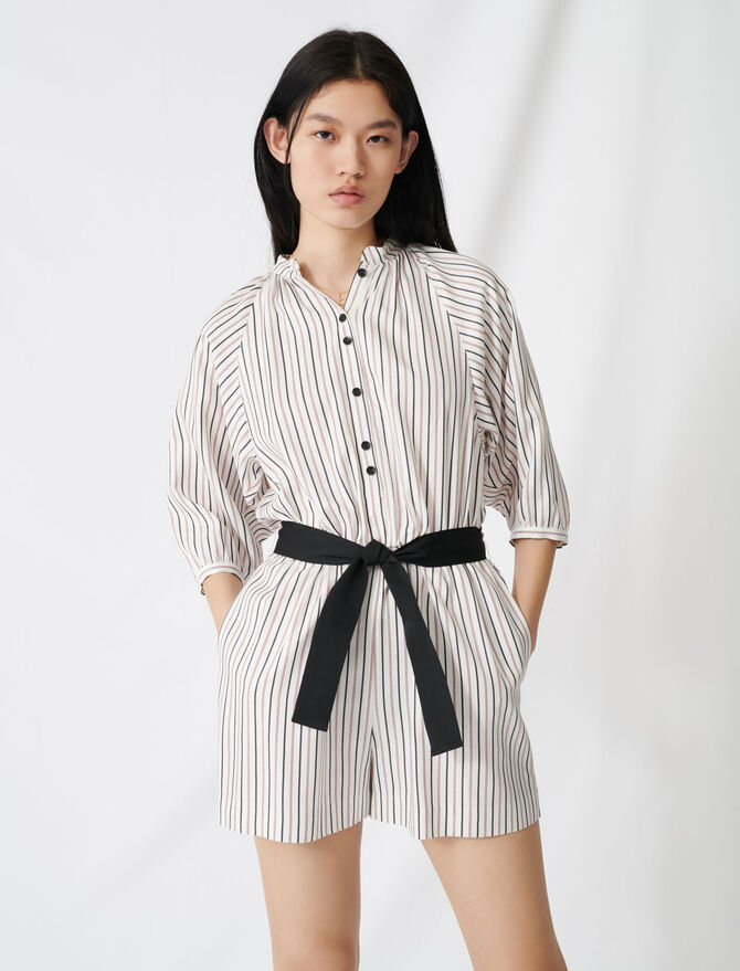Tuta corta con cintura a righe sottili - Jumpsuits - MAJE