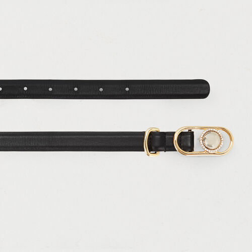 Cintura in pelle con fibbia gioiello : Office girl colore Nero