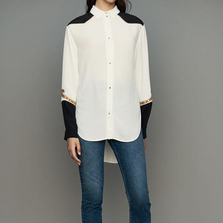 Camicetta lunga stile western : Camicie colore ECRU