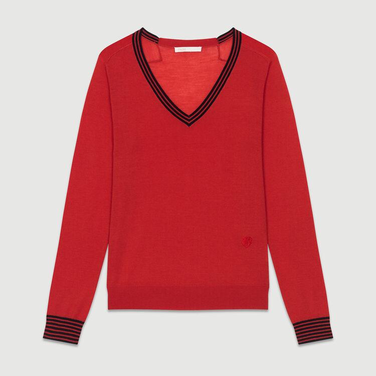 Maglia fine in lana merinos : Maglieria colore Rosso