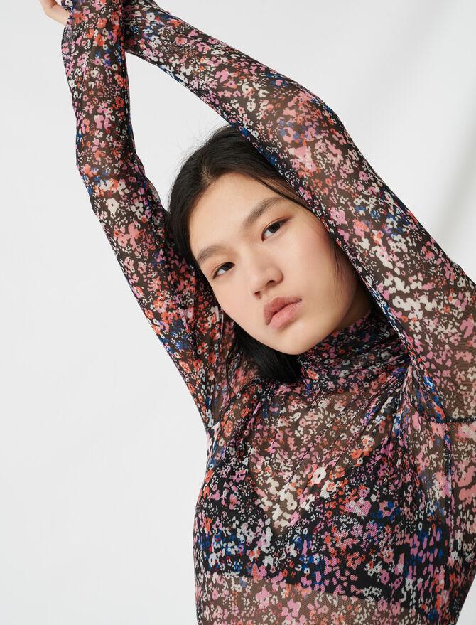 Top in mesh con motivo floreale -  - MAJE