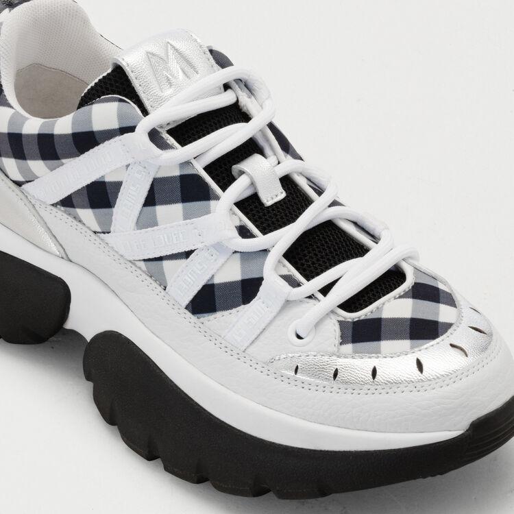 Sneakers W20 urbane in pelle e vichy : Sneakers colore Nero