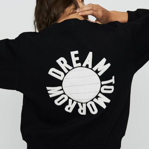 Felpa con ricami sulla schiena : Sweatshirts colore Nero