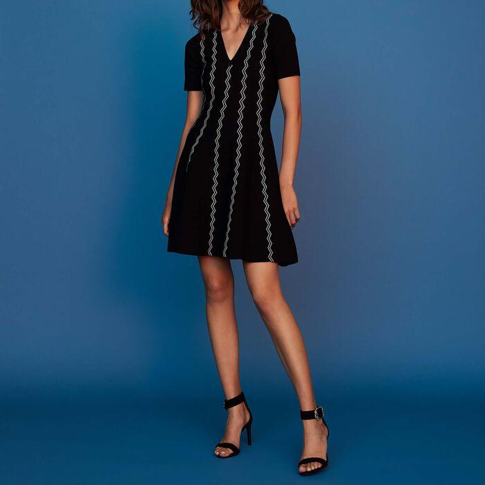 Vestito in maglia jacquard : Prêt-à-porter colore Nero