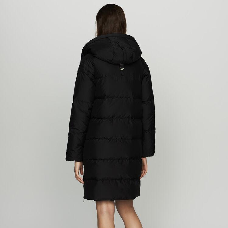 Piumino lungo con cappuccio : Cappotti colore Nero