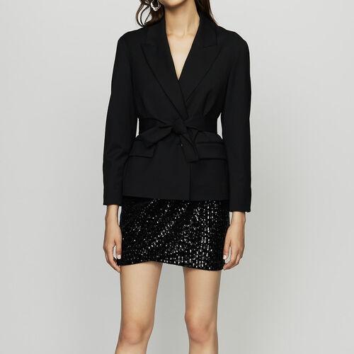 Giacca corta con cintura rimovibile : Giacche colore Nero