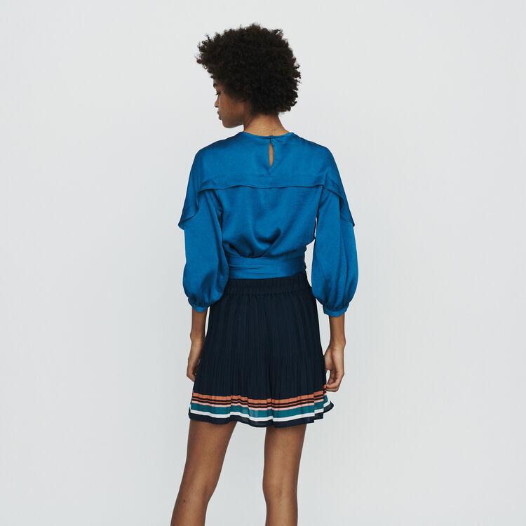 Short plissettato a righe : Gonne e shorts colore Blu Marino