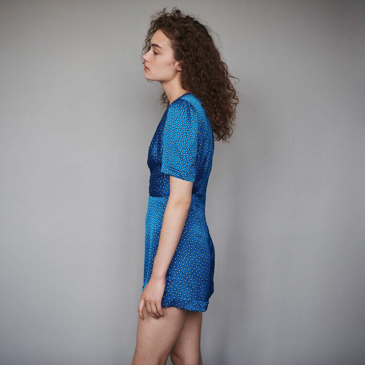 Tuta pantalone corta in satin stampato : Collezione Inverno colore Blu