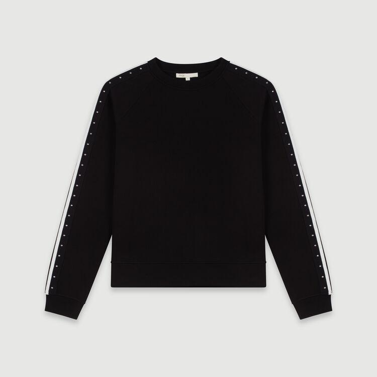 Felpa con bande a contrasto e borchie : Collezione Inverno colore Nero