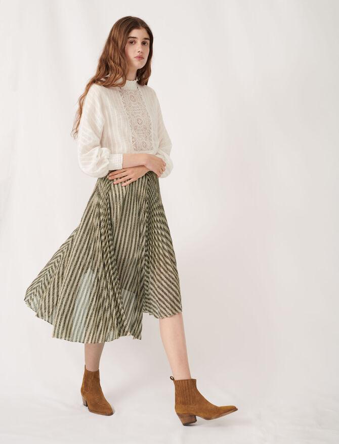 Gonna midi plissettata in lurex bicolore - Gonne e shorts - MAJE