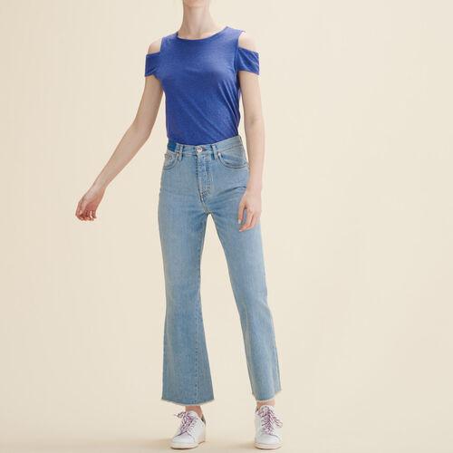 T-shirt in lino con spalle scoperte : T-shirts colore Blu