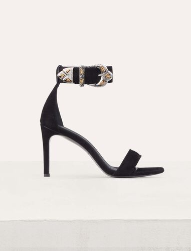 Suede heeled sandals : Scarpe colore Nero