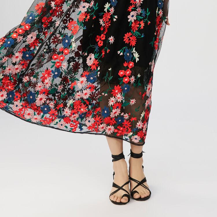 Sottoveste in tulle ricamato : Gonne e shorts colore Nero