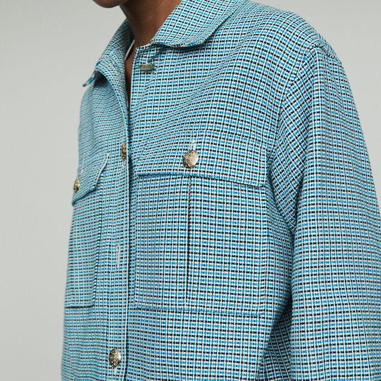 Giubbotto in natté stile tweed : Giubbotti colore Blu