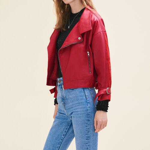 Giubbotto stile vintage in pelle : Giacche e giubbotti colore Rosso