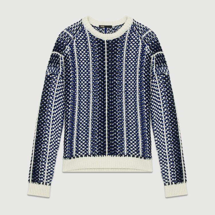 Pull in maglia jacquard : Maglieria colore Blu