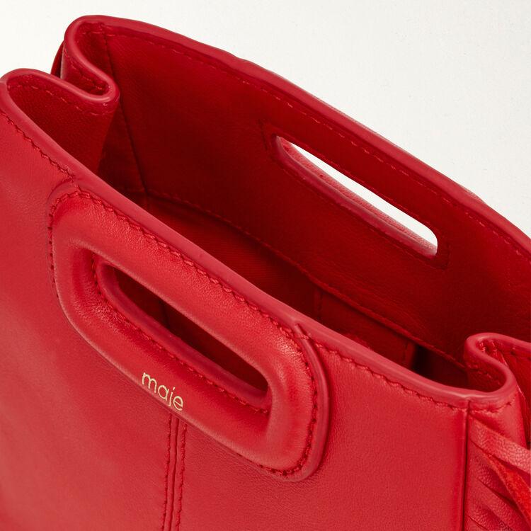 Borsa M Mini in pelle con catena : M Mini colore Rosso