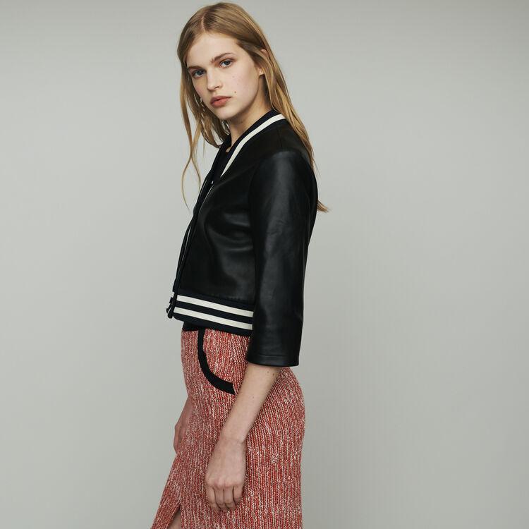 Giacca in pelle con nastri rigati : Cappotti e Giubbotti colore NERO