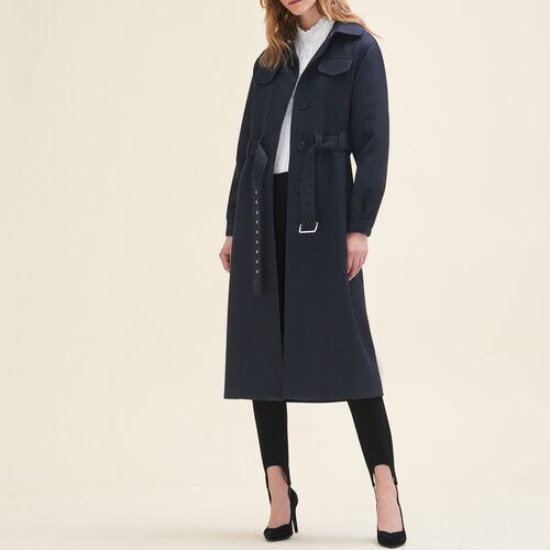 Cappotto lungo in lana : Cappotti colore Blu Notte