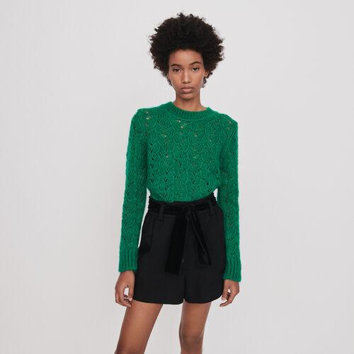 Short in velluto con cintura : Gonne e shorts colore Nero