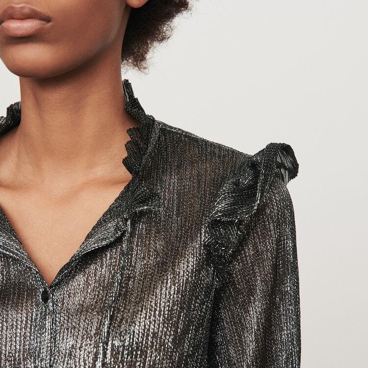 Camicia con volant in Lurex : Tops e Camicie colore Argento