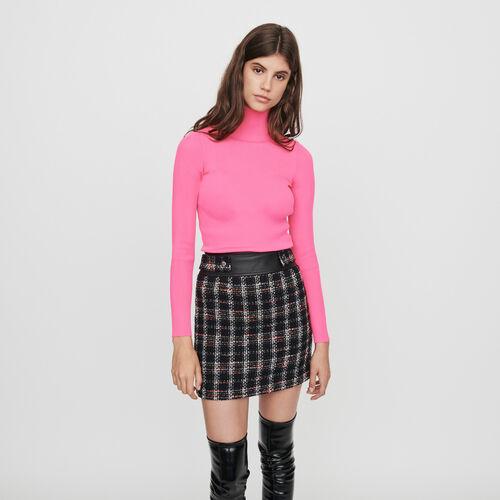 Pull a coste con collo montante : Collezione Inverno colore Rosa Fluorescente