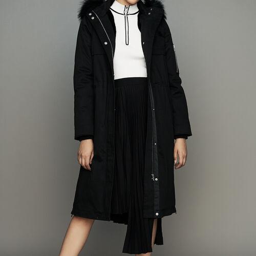 Parka lungo con cappuccio : Cappotti colore Nero