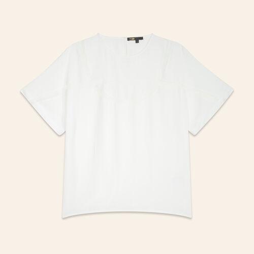 T-shirt fluida con pizzo : Tops colore Bianco