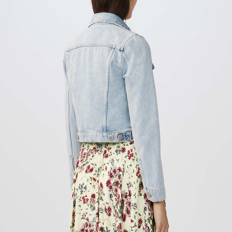 Giacca corta in jeans con applicazioni : Giacche colore Blu