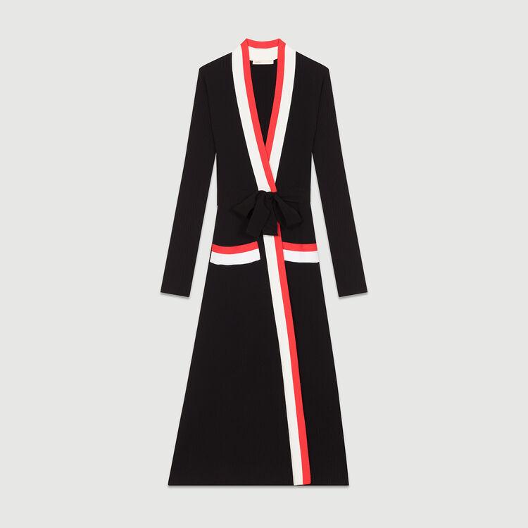 Vestito lungo a portafoglio in maglia : Vestiti colore Nero
