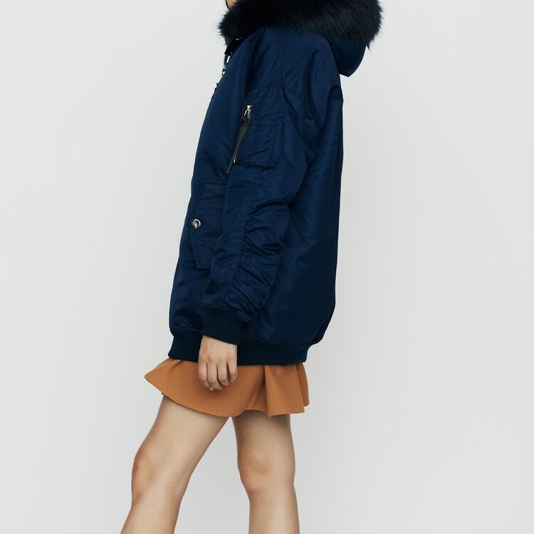 Teddy lungo con cappuccio stile parka : Cappotti colore Blu