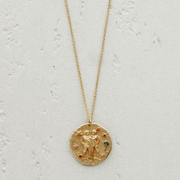 Collana segno zodiacale Gemelli : Medaglione colore OR