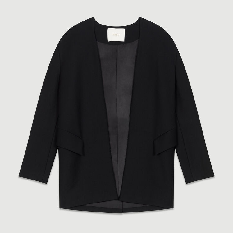 Giacca elegante senza collo in cotone : Giacche colore Nero