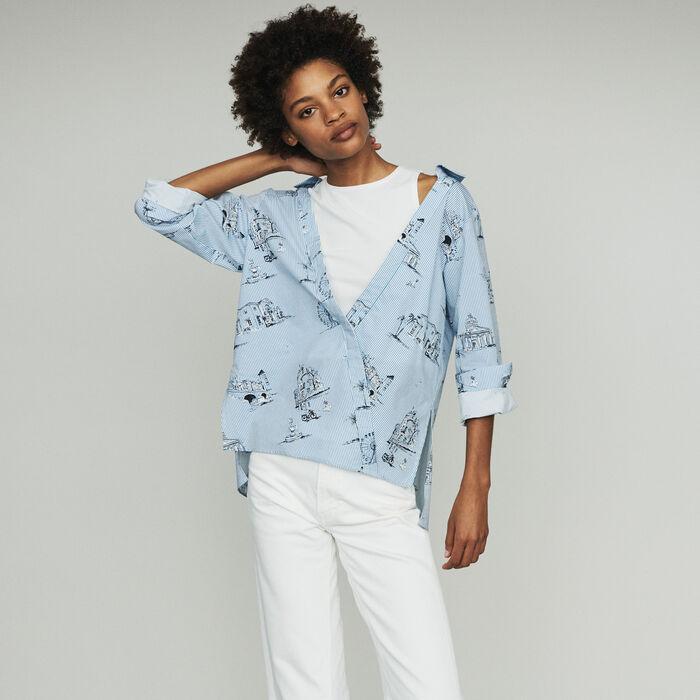 Camicia a righe con stampa Parigi : Tops colore Blu