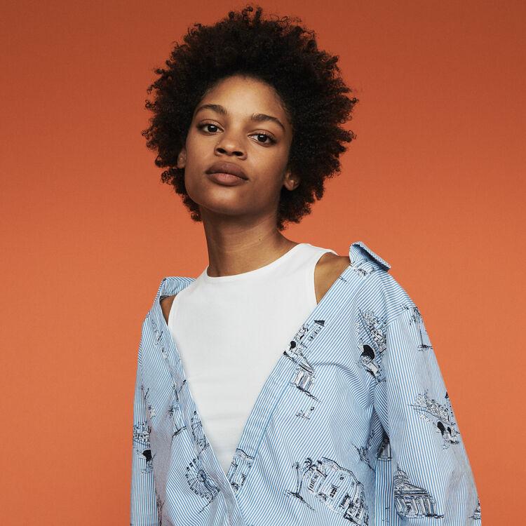 Camicia a righe con stampa Parigi : Tops e Camicie colore Blu
